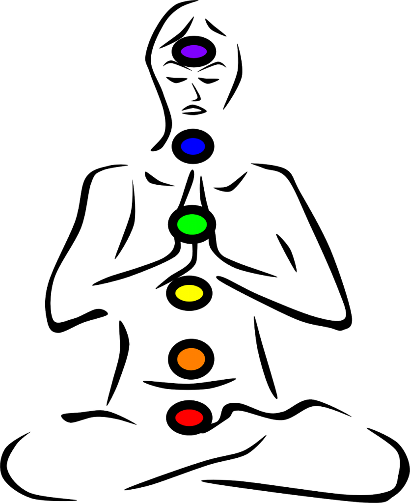 Chakras displayed in color on a meditating person