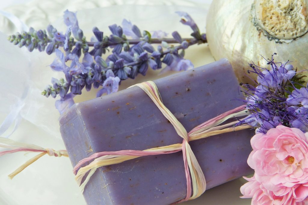 Lavender buds and a lavender soap tied in twine.